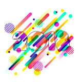 Happy New Year 2018 paper greeting card. Multicolor numbers with motion dynamic texture. Happy New Year 2018 paper greeting card. Multicolor numbers with motion stock illustration