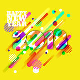 Happy New Year 2018 paper greeting card. Multicolor numbers with motion dynamic texture. Happy New Year 2018 paper greeting card. Multicolor numbers with motion vector illustration