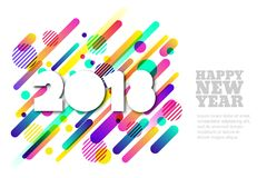 Happy New Year 2018  paper horizontal banner or greeting card. White paper cut numbers. Royalty Free Stock Photo