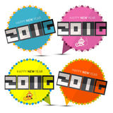 Happy New Year 2016 Paper Labels Set. Happy New Year 2016 Paper Labels with Monkey Stock Photo