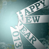 Happy New Year paper strips with shadows on grunge. Eps10 vector illustrration Royalty Free Stock Photos