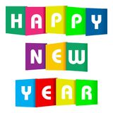Happy new year paper text. On a white background stock illustration