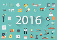 Happy New Year 2016 paper text with long shadow and business flat icons. Banner tamplate vector illustration