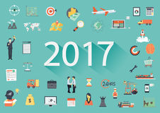 Happy New Year 2017 paper text with long shadow and business flat icons. Banner tamplate Stock Photos