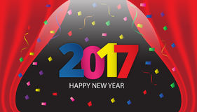 Happy New Year 2017 paper type on background with ribbons and co. Nfetti. Greeting card template. Vector illustration Royalty Free Stock Images