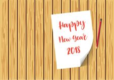 Happy New Year 2018 paper on wooden planks with snow and snowflakes. brochure, poster or flyer template. Vector illustration. Happy New Year 2018 paper on Royalty Free Stock Photography