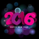 Happy New Year 2016 in papercut style. Text,  illustration on blurred background Stock Images