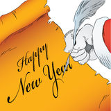 Happy New Year on parchment Royalty Free Stock Photos