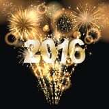 Happy New Year 2016. Party background with firework of the year 2016 vector illustration