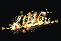Happy New Year 2016. Party background with firework of the year 2016 stock illustration