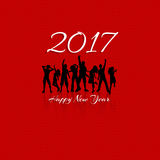 Happy New Year party background. New Year party background with silhouettes of people dancing royalty free illustration