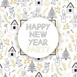 Happy New Year party background. Vector seamless pattern stock illustration