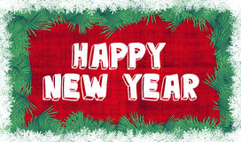 Happy New Year. Text vector frame with snowflakes and fir branches border Stock Photos