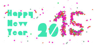 Happy new year 2015 party banner. Creative happy new year 2015 design with colorful confetti background. Ideal for web banners and print materials. EPS10 vector Vector Illustration