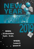 Happy New Year Party 2019 Card for your design. Vector illustration stock illustration