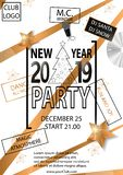 Happy New Year Party 2019 Card for your Party. Vector illustration royalty free illustration