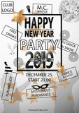 Happy New Year Party 2019 Card for your Party. Vector illustration stock illustration