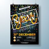 Happy New Year Party Celebration Flyer Template Illustration with Typography Design and Falling Confetti on Black. Background. Vector Holiday Premium Invitation vector illustration