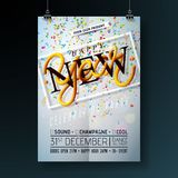 Happy New Year Party Celebration Flyer Template Illustration with Typography Design and Falling Confetti on Shiny. Background. Vector Holiday Premium Invitation royalty free illustration