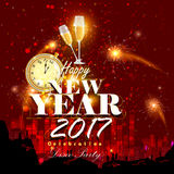 Happy New Year 2017 party celebration poster. Easy to edit vector illustration of Happy New Year 2017 party celebration poster Royalty Free Stock Photo