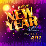 Happy New Year 2017 party celebration poster. Easy to edit vector illustration of Happy New Year 2017 party celebration poster Stock Photography