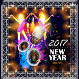 Happy New Year 2017 party celebration poster. Easy to edit vector illustration of Happy New Year 2017 party celebration poster Stock Photos