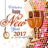 Happy New Year 2017 party celebration poster. Easy to edit vector illustration of Happy New Year 2017 party celebration poster Stock Image