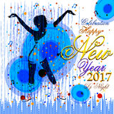 Happy New Year 2017 party celebration poster. Easy to edit vector illustration of Happy New Year 2017 party celebration poster Royalty Free Stock Photography