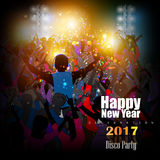 Happy New Year 2017 party celebration poster. Easy to edit vector illustration of Happy New Year 2017 disco party celebration poster Stock Images