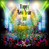 Happy New Year 2017 party celebration poster. Easy to edit vector illustration of Happy New Year 2017 disco party celebration poster Royalty Free Stock Photography