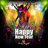 Happy New Year 2017 party celebration poster. Easy to edit vector illustration of Happy New Year 2017 disco party celebration poster Stock Photography