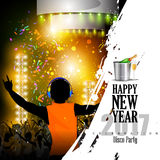 Happy New Year 2017 party celebration poster. Easy to edit vector illustration of Happy New Year 2017 disco party celebration poster Royalty Free Stock Photos