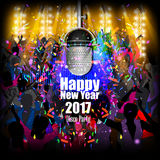 Happy New Year 2017 party celebration poster. Easy to edit vector illustration of Happy New Year 2017 disco party celebration poster Stock Photo