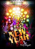 Happy New Year 2017 party celebration poster. Easy to edit vector illustration of Happy New Year 2017 disco party celebration poster Royalty Free Stock Photo