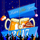 Happy New Year 2017 party celebration poster. Easy to edit vector illustration of Happy New Year 2017 disco party celebration poster Stock Image