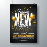 Happy New Year Party Celebration Poster Template Illustration with Gold Glass Ball and Typography Design on Black. Background. Vector Holiday Premium Invitation royalty free illustration
