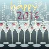 Happy New 2016 Year Party. Cocktail glasses standing on the party table vector illustration