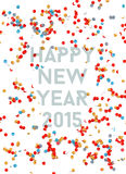 Happy New year party 2015 confetti background. Happy new Year 2015 celebration with colorful confetti template background. Ideal for greeting card, print poster royalty free illustration