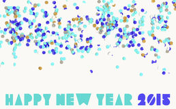 Happy new year party 2015. Creative happy new year 2015 with colorful confetti background. Ideal for greeting card, print poster and signboard. EPS10 vector file stock illustration