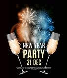 Happy New Year Party 31 December Poster Vector Illustration. EPS10 Royalty Free Stock Photo