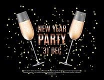 Happy New Year Party 31 December Poster Vector Illustration. EPS10 Stock Photography