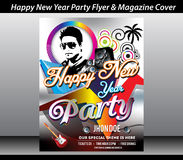 Happy new year party flyer template. Vector illustration royalty free illustration