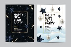 Happy New Year party flyers, cards, invitations. With festive elements - confetti and gold tinsel, black stars, christmas balls. Posters in two variants of stock illustration
