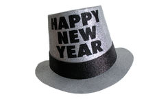 Happy new year party hat. Silver glitter with black writing happy new year party hat on white background Stock Image