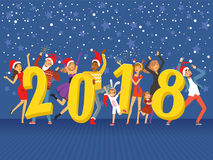Happy New Year 2018, party people celebrating colorful vector Illustration. On a blue background with shining stars Stock Photo