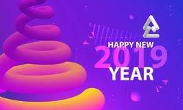 Happy New year party poster. Abstract wave gradients background. Vector illustration stock illustration