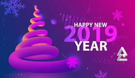 Happy New year party poster. Abstract wave gradients background. Vector illustration royalty free illustration