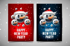 Happy New Year Party poster, background with group of smiley snowman emoticon with Santa`s hat, emoji, vector illustration. royalty free stock photo