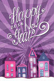 Happy New year party poster with cute houses. Bright retro background with lettering royalty free illustration