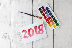 Happy New Year 2018. Pastel drawing. stock images